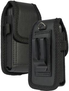 Black Leather Case Pouch Belt Clip for Alcatel MyFlip 2 A406DL