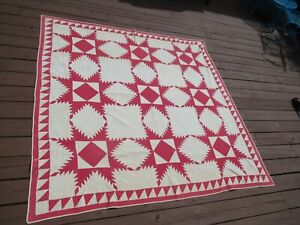 Antique Quilt Hand Sewn Red Star  (F257)