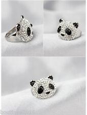 Super Fashion Adorable Cute Crystal Silver *Panda* Big Ring