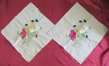 VINTAGE SET OF TWO HAND EMBROIDERED w/SILK THREADS PILLOW CASES