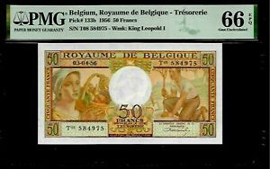 Belgium 50 Francs 1956 PMG 66 EPQ UNC P#133b PMG Population 6/1