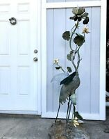 Antique ? Vtg Metal Crane Bird Garden Lamp Decor Ornament Statue Stunning Rare