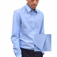 Mens Formal Long Sleeve Shirt Blue Slim Fit Uk Classic Office Work Casual Shirts