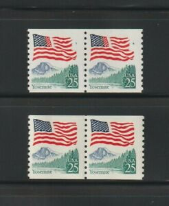 US EFO, ERROR Stamps: #2280a Flag Yosemite. Red / Blue Ink freak coil pair. MNH