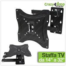 """STAFFA PORTA TV TELEVISORE BRACCIO PARETE MONITOR DA 14"""" A 32"""" POLLICI"""
