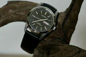 Genuine Pulsar By Seiko Men's Day Date Leather Watch VJ33-X004 100m WR