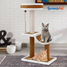 ScratchMe Cat Tree Condo w/ Hammock Scratching Post Cat Climbing Tower & Perches