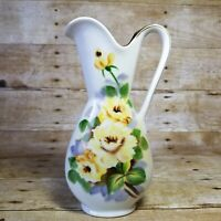 Vintage Kasuga Ware Pitcher White with Painted Yellow Florals and Gold Trim