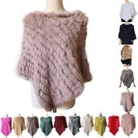 Fluffy Real Rabbit Fur Knitted Wrap Shawls Cape Poncho Scarf Black Girl Gift Top