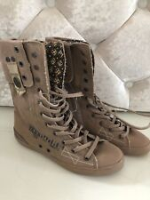 NEW IKKS SHOES CANVAS ANKLE BOOTS - BEIGE  - UK SIZE 3 EU 36