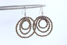 Sterling Silver Chocolate Genuine Rice Pearl Triple Circle Dangle Earrings