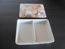 Fitz & Floyd Fleur Fantasia Divided Trinket Cards Box Fine Porcelain Floral 194