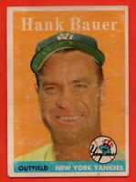 1958 Topps #9 Hank Bauer LOW GRADE FILLER CREASE New York Yankees FREE SHIPPING