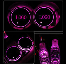 2PCS For Peugeot Car Auto Atmosphere Lights Colorful LED Car Cup Holder Pad Mats