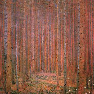 gustav klimt forest Framed Canvas landscape vintage painting art wall decor