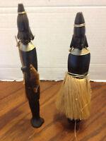 Vintage African Wood Hand Carved Tribal Man Woman Figurines