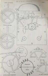 ANTIQUE PRINT C1870'S HOROLOGY ENGRAVING CLOCKS GRAHAM'S DEAD BEAT CHRONOMETER