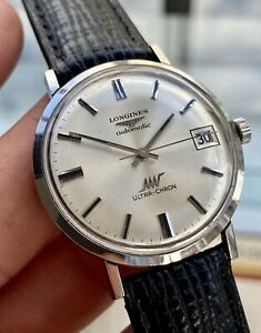 Longines Ultra Chron Crosshair 1970s vintage Steel Automatic Leather Mens watch