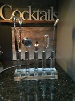 Vintage Mid Century Modern  Lucite Bar Cocktail Tool Set