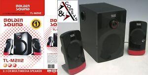 Stereo Soundsystem 2.1 SubWoofer 1000W PC/Laptop Lautsprecher Speaker #A
