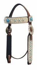 WESTERN HORSE LEATHER BRIDLE HEADSTALL MEDIUM BROWN W/ WHITE HAIR ON LEATHER