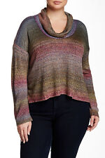 NEW Ceny Ombre, Cowl Multi Colored Pullover Sweater, Size 1X plus, NWT   $65