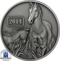 Tokelau 5 Dollars Silber 2014 Jahr des Pferdes Silbermünze in Antique Finish
