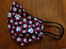 Dog Face Mask with Filter Cotton Fabric Plaid Dog Paws black red puppy paws