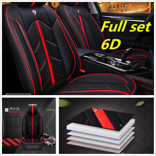 Black Red 6D Car Seat Cover 5 Seats Cushion Microfiber Leather+Sponge Layer