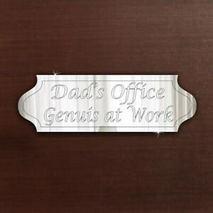 Study DAD Door Sign Plaque Signage Acrylic Mirror Office Home FREE Personalised