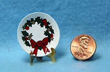 Dollhouse Miniature Christmas Holly Wreath Plate with Stand Decoration ~ IM65114