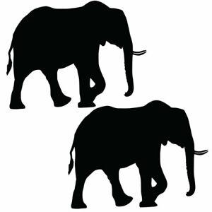 Qty 2 Elephant 3 Stickers Car Window Wall Decals Any Colour NNN 10cm - 50cm