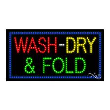 New Wash Dry Amp Fold Border 32x17 Solidanimated Led Sign Wcustom Options 20706