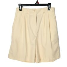 IZOD Club Yellow High Waist Pleated Front Shorts With Pockets 10