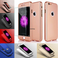 Hybrid 360° Shockproof Case Tempered Glass Cover For Apple iPhone 7  6/6s 5/5s
