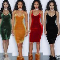 Sexy Velvet Women Bodycon Sleeveless Cocktail Evening Formal Party Mini Dress