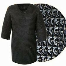 Chain mail Shirt Flat Ring Dome Riveted With Soiled Ring Black Hauberk M Size