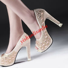 Wedding Stiletto Platform Open Toe Slip On Elegant Women Shoes New Hollow Out NW