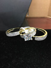 Sterling Silver dipped 14k Gold 3 pcs engagement ring set