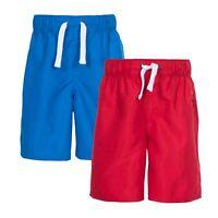 Trespass Riccardo Boys Summer Beach Swim Red Blue Shorts For Kids