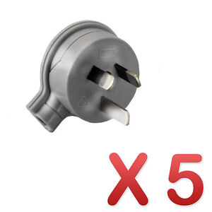 5 x HPM Side Entry Electrical Plug Top 3 Pin Gray 10A CD106/1GY