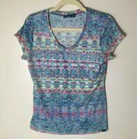 Prana Women's Top Size Small Short Sleeves V-Neck Watercolors Multicolor Casual