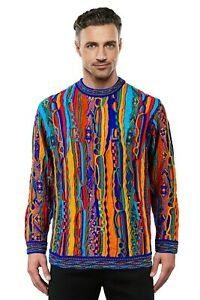 Geccu 3D Multi Colour Pure Merino Wool Sweater Knitwear Jumper Coogi Cosby Look