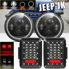 7inch Round LED Headlight DRL Angel Eye + Rear Tail Light for Jeep Wrangler JK