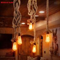 Industrial Pendant Lamp Retro Vintage Hemp Rope Ceiling Bar Home Light Rope