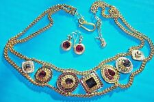 A+ Pre-Owned Swarovski Crystal 1160473 Gold Plated Story Multi Gem Necklace