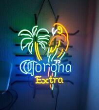 Glass Neon Sign Corona Beer Parrot Light