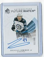 2017-18 SP Authentic hockey Future watch auto /999 Brendan Lemieux Winnipeg Jets
