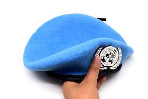 UN Peacekeeping Force Woolen Cap Hat UN BLUE BERET With UN Siliver Badge 60CM