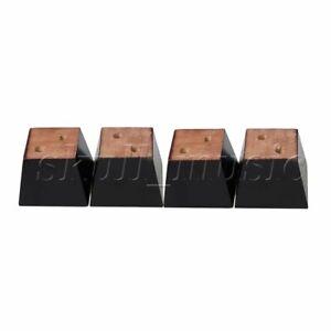 4 Pieces Black Wood Trapezoidal Sofa Chair Feet Furniture Legs 8x8x6cm